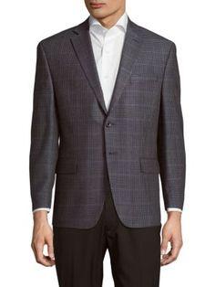 MICHAEL KORS Classic Fit Checked Windowpane Sportcoat. #michaelkors #cloth #sportcoat