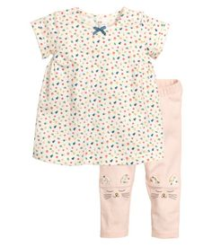 Kleid und Leggings | Naturweiß/Geblümt | Kinder | H&M DE