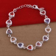 Find More Chain & Link Bracelets Information about Silver Charm Heart Shaped Crystal Jewelry Luxury Wedding Bracelets Rhinestone with Colored Stones for Women Colorful S500,High Quality jewelry oxidation,China stone tabletop Suppliers, Cheap stone textile from Ulovestore Fashion Jewelry on Aliexpress.com