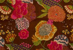 Floral Indian Cinnamon Brown Fabric-devine