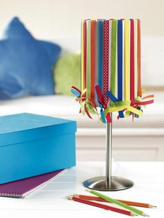 ribbon lampshade - this is brilliant, just tie them on! #craft