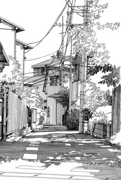Ink Drawings More - Japanese Artist Kiyohiko Azuma (あずまきよひこ) is famous for his Japanese Manga Art and for being an author. Today though, we are going to have a look at his Urban Sketches and Cityscape Drawings. Azuma's drawings carry a Landscape Sketch, Landscape Drawings, Landscape Design, Japanese Landscape, Landscape Paintings, Drawing Sketches, Art Drawings, Drawing Ideas, Sea Drawing