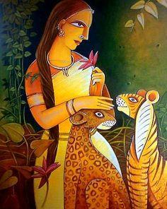 Indian art Modern Indian Art, Indian Folk Art, Indian Artist, Modern Art, Contemporary Art, Indian Artwork, Indian Art Paintings, Portrait Paintings, Art Visage