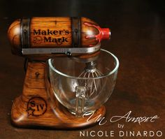 Maker's Mark® Custom Hand Painted Woodgrain KitchenAid Mixer, complete with red wax nozzle. Branded markings, wood cask. #AWESOMENESS by NICOLE DINARDO of UN AMORE