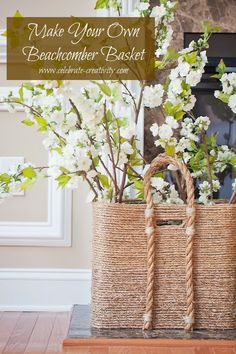 How To Make A Pottery Barn - Like Beachcomber Basket - using a container, jute and glue sticks.