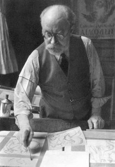 Matisse at work on an illustration for his book, Ulysses