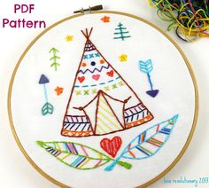 Teepee Western Indian Summer Camp Hand Embroidery PDF Pattern by lovahandmade on Etsy https://www.etsy.com/listing/152642652/teepee-western-indian-summer-camp-hand