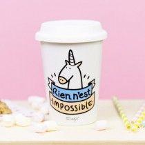 "Mr Wonderful Mug take away licorne ""Rien n'est impossible"""