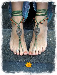 Woodland FAIRY BAREFOOT sandals Pea Green Tribal ANKLETS Gypsy Sandals Garden Wedding Filigree Teardrops Nature jewelry Naturalist Gaia on Etsy, $68.00