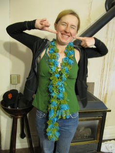 My sister-in-law Jessi in her ruffle scarf.  I think she liked it.  This uses Trendsetter Flamenco yarn.  It is just knit.  I believe  the instructions are on the yarn itself.  The link is to a video on this pattern.  It is very helpful.