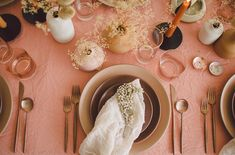 Dusty Rose and Burnt Siena Inspired Tablescape Wedding