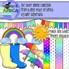 Behind every dark cloud is a rainbow... This colourful clip art collection includes:The four polka dot rainbow backgrounds I promisedPLUSfour umbrellastwo gumbootstwo rainbowstwo strings of buntingand one very happy sun!(15 colour images in total)I have included the black and white images for all the clips.(5 b&w images)Have fun and remember to pop by my store!