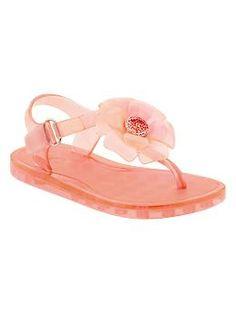 Embellished flower jelly sandals   Gap