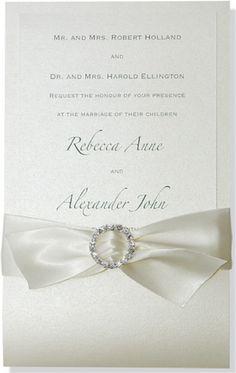 Ivory/Ivory with Ivory Ribbon Tiara Formal Wedding Invitation