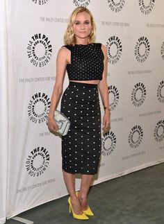 Diane Kruger pulled off the matching separates trend at a screening of The Bridge on June 24, rocking a black and white, polka-dotted crop top and pencil skirt by Roland Mouret. She accessorized with a striped Pierre Hardy clutch and yellow pointed-toe heels by Stuart Weitzman.