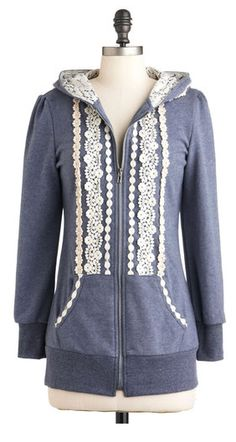 Lace trimmed hoody #fallfaves could very easily diy this with lace and possibly lace inner hood.