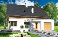 Projekt domu Jantar MDM wersja A paliwo stałe - House Plans, Garage Doors, Outdoor Decor, Home Decor, Decoration Home, Room Decor, House Floor Plans, Home Interior Design, Carriage Doors