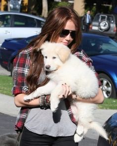 Here, Miley Cyrus is prim and proper, just like the dog in her arms.