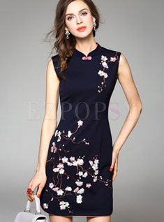 3e576106cf3 Vintage Embroidery Improved Cheongsam Dress