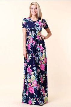 Maysa- navy and pink floral maxi dress