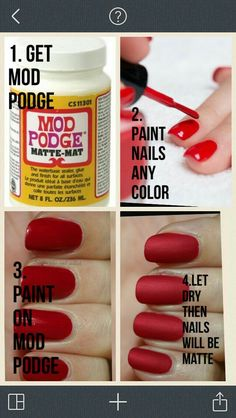 DIY matte nail polish by simone DIY matter Nagellack von simone Nail Polish Hacks, Nail Art Hacks, Nail Art Diy, Nail Tips, Nail Ideas, Makeup Ideas, Nail Polish Crafts, Makeup Hacks, Nail Art Designs