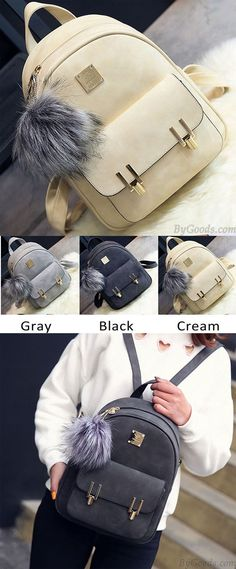 e7e484fbb8da Fashion Frosted PU Zippered Backpack With Metal Lock Match School Bag  Backpack only  33.99