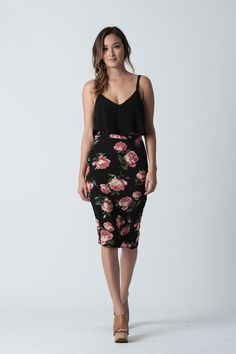 Kimmie Floral Pencil Skirt