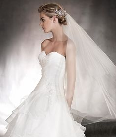 ALISON - Draped wedding dress with a sweetheart neckline in tulle and gemstones | Pronovias