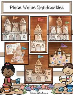 Place Value Activities: Super-fun place value sandcastle craft! Completed projects make an awesome bulletin board too. Place Value Centers, Place Value Games, Place Value Activities, Place Value Worksheets, Graphing Activities, Fun Activities, Numeracy, Place Value Projects, Summer School Activities