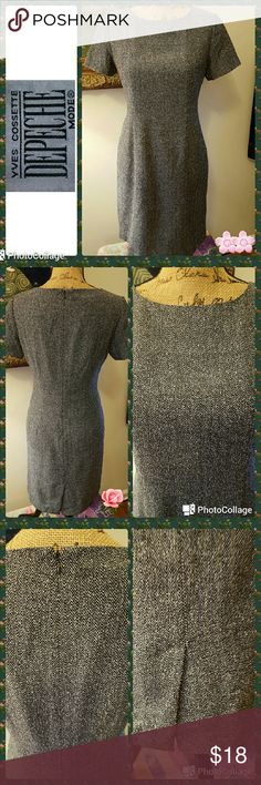 """🎄 New Listing - Yves Cossette Depeche Mode In excellent condition.  Yves Cossette Depeche Mode dress. Black and white tweed scoop neckline sheath style.  Completely lined.  Short sleeves.  Concealed back zipper.  Back kick pleat.  Measurements are length 35"""", bust 36"""", sleeves 7"""". Yves Cossette Depeche Mode  Dresses"""