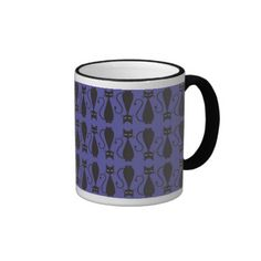 Purple and Black Goth Cat Pattern Coffee Mug.  $17.95