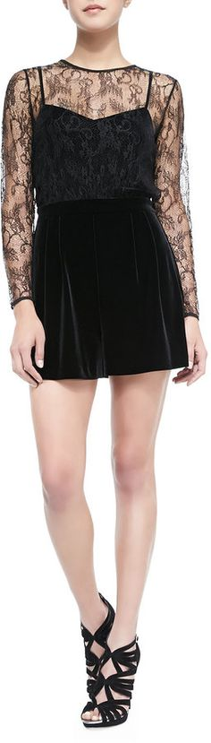 $107, Black Lace Playsuit: Ali Ro Long Sleeve Velvet Jumpsuit W Lace Bodice. Sold by Neiman Marcus. Click for more info: http://lookastic.com/women/shop_items/126714/redirect