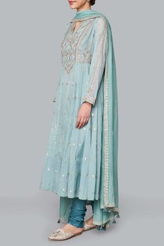 Designer Suits - Buy Ayaana Suit for Women Online - Blue - Anita Dongre Indian Wedding Outfits, Pakistani Outfits, Indian Outfits, Bollywood Outfits, Bollywood Style, Indian Attire, Indian Wear, Indian Style, Indian Ethnic