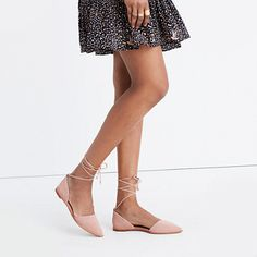 """Sleek d'Orsay flats with long laces that crisscross up the ankle (bonus: they're removable for on-the-fly style switch-ups). Made of embossed suede, these pop-on shoes are perfect with cropped jeans, midi skirts—all the good stuff. When you select your size, """"H"""" equals a half size. <ul><li>We recommend ordering a half size smaller than your normal size.</li><li>Nubuck upper.</li><li>Leather lining.</li><li>Man-ma..."""
