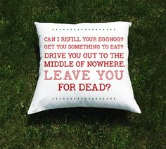 "Christmas Vacation Movie Throw Pillow Cover - National Lampoon Chevy Chase - ""Drive You to the Middle of Nowhere, Leave You for Dead"" Quote by BethanysRoom on Etsy"