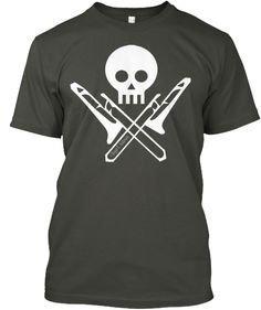 One of our most popular designs! A favorite of trombone players everywhere. The Skull and Trombones.Featured in the thumbnail is white on black, but it is available on 12 different colors.Enjoy!