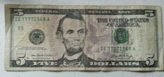 US Five Dollar Bill Four Lucky 7's in a Row Serial Number 2006 Federal Reserve