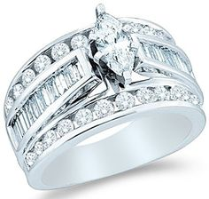 14k White Gold Diamond Engagement Wedding Solitaire with Side Stones Channel Set Large Marquise , Round & Baguette Cut Diamond Ring (1.50 cttw, 1/2 ct Center), http://www.amazon.com/dp/B0044VIH5G/ref=cm_sw_r_pi_awdm_EjlNvb19CEQ40