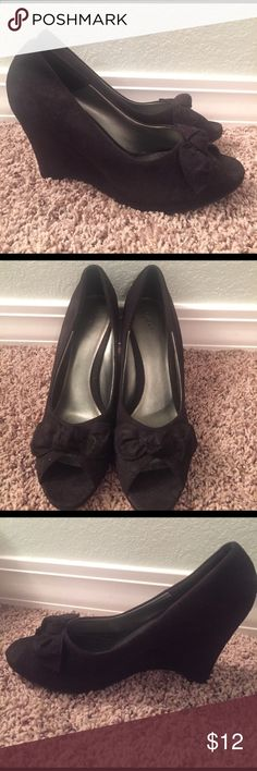 Dressy Wedge Slip-on Shoes!!! Faux suede slip-on wedge shoes. Great condition! Peep toe with bow accent! So cute!! Fioni Shoes Wedges