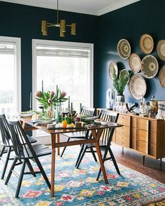 Dining Chair Roundup Home decor Dining room blue, Dining room dining room decor ideas modern - Dining Room Decor Bohemian Dining Room, Home Decor, Room Inspiration, Festive Dining Room, Dining Room Inspiration, Mid Century Dining Room, Room Furniture, Dining Room Blue, Dining Room Furniture
