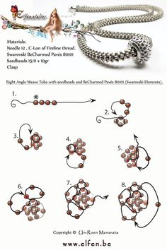 Right Angle Weave Tube with seedbeads and BeCharmed Pavés 80101 (Swarovski Elements). www.elfen.be