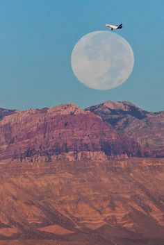 Beautiful Moon over the Red Rocks.