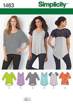 Your new favorite staple has just arrived. Make a scoop neck high low top with banded sleeves, or great crossing back interest, and three v neck tops with lace flutter sleeves, studs or peekaboo lace in neckline. Fabrics:   Sized for stretch knits only: Interlock, Jersey, Two Way Stretch, Spandex   Blends. C Contrast Bodice Back and Sleeves in Stretch Lace. See Pick-A-Knit®  Rule. Suitable for Overlock/Serger.