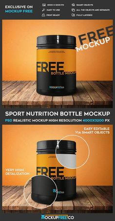 Free Sports Nutrition Container Mockup