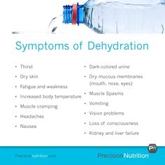 dehydration symptoms... And you don't have to exhibit all of them at once. I just fought this and it's a doozy.....Lucky I caught it before it got too bad. DRINK YOUR FLUIDS BEFORE IT IS TOO LATE!!! I screwed up REALLY bad once when I was in the Marines-I'm telling you.....It's NOTworth it.
