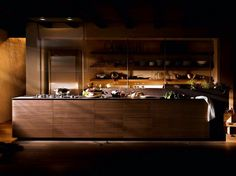 Walnut fitted kitchen ARTEMATICA NOCE TATTILE Artematica Line by VALCUCINE | design Gabriele Centazzo