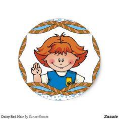 Daisy Red Hair Classic Round Sticker