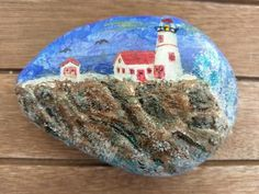 These cliffside rocks were made using modeling paste...love this lighthouse scene.