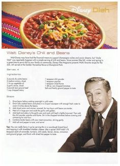 Walt Disney's favorite Chili Recipe- If Walt liked it, it must be good, he was such a perfectionist! Chilli Recipes, Beef Recipes, Soup Recipes, Cooking Recipes, Disney Food Recipes, Cooking Tips, Dinner Recipes, Retro Recipes, Chili Con Carne