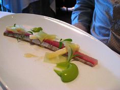 """The French Laundry Spanish Mackerel """"En Escabeche"""" with Hawaiian Hearts of Peach Palm, English Cucumbers, Cilantro Shoots, Haas Avocado """"Coulis"""" and Rangpur Lime """"Gastrique"""""""